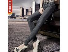 【包物流】库蕾哈棉弹小脚牛仔裤 弹力修身显瘦铅笔裤