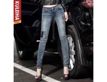 新款牛仔裤批发低腰铅笔裤破洞女式牛仔裤长裤女士修身显瘦小脚裤