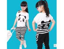 童装 女童夏装2014新款潮 大童女装熊猫中大童运动套装 儿童夏装