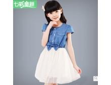女童牛仔裙 新款夏装 新款儿童裙子大童网纱公主裙 女童连衣裙