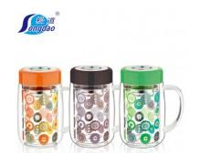 松道正品双层玻璃保温杯带盖水晶杯隔热防烫水杯创意透明茶杯特价