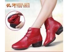 优绅新款舞蹈鞋真皮跳舞鞋女透气软底现代舞鞋增高广场舞爵士舞鞋