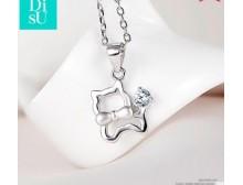 缔素韩版925银饰项链女短款锁骨链镂空时尚小猫咪首饰品生日礼物