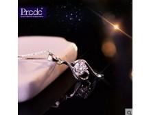 新款925银项链女欧美锁骨链生日礼物时尚吊坠银饰品短Uec6e6WE