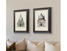 北欧美式新古典卧室沙发背景墙壁画怀旧建筑组合玄关客厅大装饰画