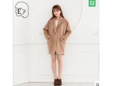 Ehyphen 冬季新品女装 西服领中长款大衣外套20154I32018