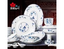 红叶 景德镇陶瓷餐具套装 碗碟碗盘 中式青花瓷 玲珑花蝶恋