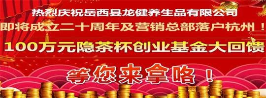 龙健20周年庆100万送创业基金